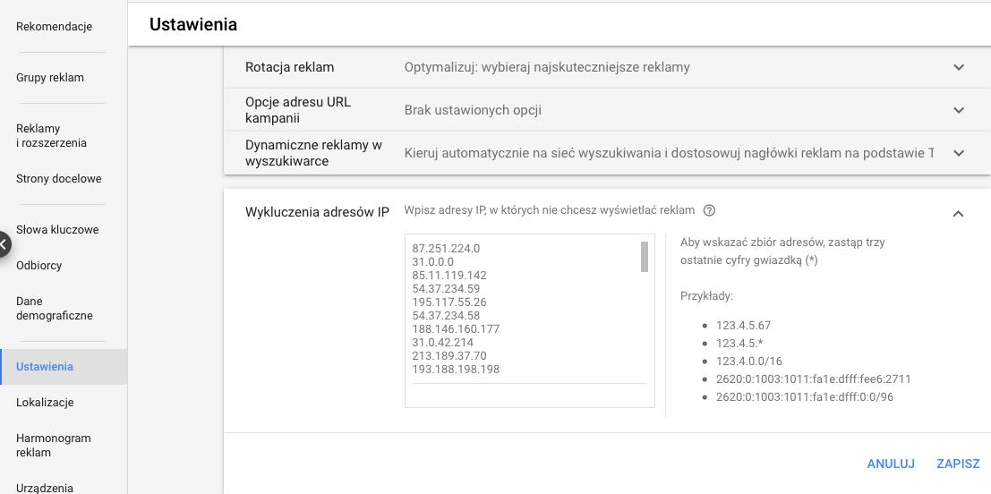 Blokada IP w Google Ads